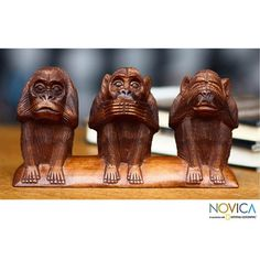 Wood 'Three Wise Monkeys' Sculpture (Indonesia) | Overstock™ Shopping - Big Discounts on Novica Statues & Sculptures