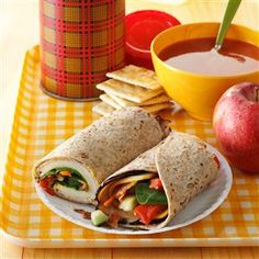 Turkey Lunch-Box Wraps Recipe -These wraps taste wonderful cold or warmed in the microwave. They make a great brown-bag treat. Wrap Recipes, Lunch Recipes, Beef Recipes, Cooking Recipes, Slider Recipes, Recipies, Clean Eating Kids, Clean Eating Snacks, Healthy School Lunches