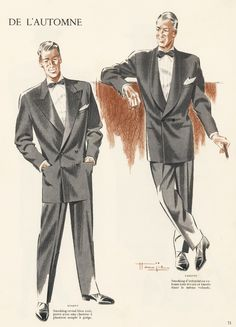 1955 Men's Smoking Jackets Fashion Illustration | Marcel Jacques Hemjic