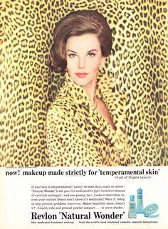 1963 Elegant Beauty Ad, Revlon Natural Wonder Makeup