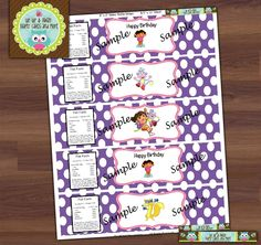 Dora Birthday Water Bottle Label Wrap--Digital File. $8.00, via Etsy.