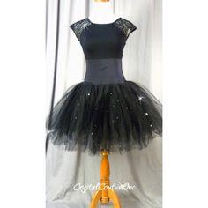 Encore Costume Couture   Classic Black Lycra & Lace Leotard with Black Romantic Tutu - Swarovski Rhinestones - Size AM - Ballet - Costumes