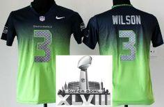 Kids Nike Seattle Seahawks 3 Russell Wilson Blue Green Drift Fashion II Elite 2014 Super Bowl XLVIII NFL Jerseys