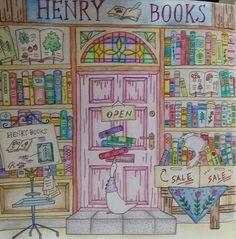 完成!ドアの色迷ってピンクにした。奇抜になるかと思ったけど、そんなには変じゃない…よね?(笑)  #ロマンティックカントリー #大人の塗り絵  #ヘンリーブックス #塗り絵