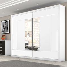 Decoração elegante no quarto? Aposte em modelos de guarda-roupa de cores neutras e com espelhos nas portas.