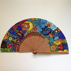 Paper Fans, Paint Designs, Hand Fan, Artsy, Hand Painted, Japanese, Cool Stuff, Painting, Color