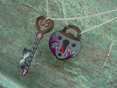 best friends bf bff tattoo key and lock necklace