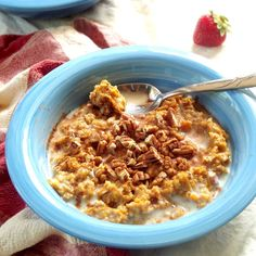 Sweet potato oatmeal made my blending baked sweet potato with oats, along with a touch of cinnamon and pecans.