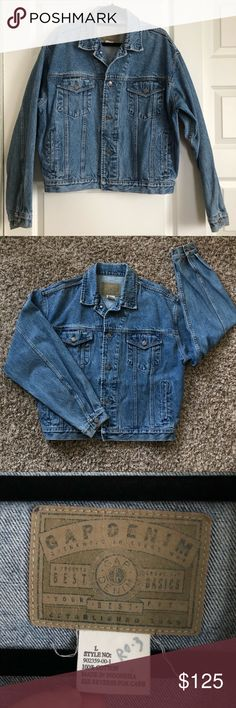 """Vintage 1980's GAP Denim Jean Jacket Large GAP Vintage Denim Jacket, size large. Excellent vintage condition, marker on tag (see photos). Faded and acid-washed, slight tan discoloration at sleeves. Trucker-style chest pockets, side pockets, and interior pocket. Adjustable buttons at hips. 26"""" chest (armpit to armpit), 24"""" long (shoulder to hem), 22"""" sleeve (armpit to wrist.) Oversized boxy look. Happy to answer questions or take more photos upon request, check out my closet for more men's…"""