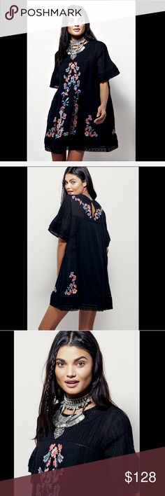 """Free People black Embroidered Floral Victorian  XS Free People black Embroidered Floral Victorian Mini Shift Dress Effortless & shapeless swing Victorian inspired mini dress  Featuring a beautiful floral embroidery & crochet trim  Pleat detailing along the high neck & wide short sleeves Button closure in back with keyhole opening * fully lined in black cotton New Without Tags  *  Size: X  Small  100% cotton  Measures: 34"""" around bust 31"""" long Free People Dresses Mini"""