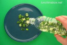 Chop up spring onion put it in a water bottle. Freeze it and shake out what you need when you need it. 40 DIY Tricks To Make Your Groceries Last As Long As Possible