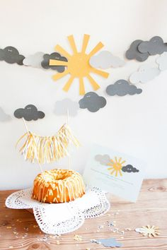 You Are My Sunshine Yellow and Grey Party Package by ConfettiGrove, $65.00 LOVE THIS!!! These invites are amazing but pricey, could maybe get the invites then make the banner, confetti & cake topper?!?