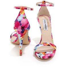 Steve Madden Stecy Floral Print Ankle Strap Heels ($79) ❤ liked on Polyvore featuring shoes, heels, sandals, flower pattern shoes, floral shoes, floral printed shoes, floral pattern shoes and steve-madden shoes