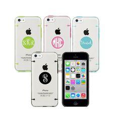 iPhone 5 case 5s case, iPhone 5c case, iPhone 6 6 plus case, Transparent bumper clear hard cover, personalised monogram name custom made
