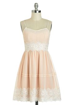 Life Is But A Gleam Dress - Mid-length, Pink, White, Crochet, Daytime Party, A-line, Spaghetti Straps, Fairytale