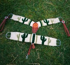 "Handmade Custom Mohair Cactus Breast Collar with matching 17 strand 32"" cactus mohair cinch Find us on Facebook at Felecia Wiley Custom Cinches for prices or to order custom mohair Cinches and Breast Collars! https://www.facebook.com/Felecia-Wiley-Custom-Cinches-1048941298489370/"