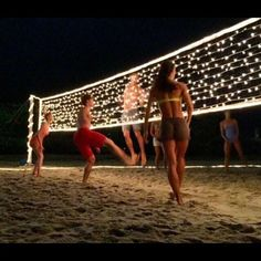 String lights on a volleyball net at night, great idea for birthday or spring/summer party for teens, tweens, youth or church groups. Perfect for an end of the school year party celebration! (End Of Summer Party) Backyard Games, Outdoor Games, Outdoor Fun, Backyard Ideas, Backyard Projects, Craft Projects, Backyard Designs, Outdoor Cabana, Sloped Backyard