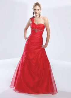 One shoulder organza home coming dress with dropped waist