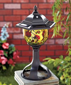 Butterfly Tiffany Style Solar LED Lantern Lamp Post Light Outdoor Garden Yard