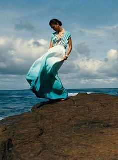 turquoise dress blowing in the wind // alicefine