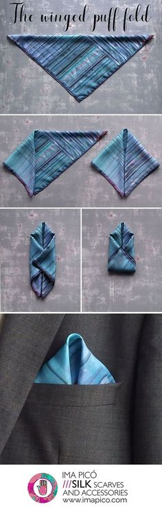 How to fold a pocket square, the winged puff fold. #tiesknots