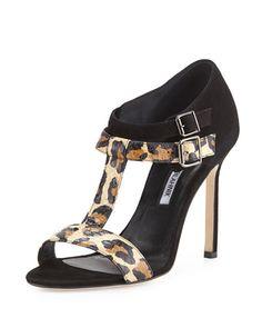 X2AM5 Manolo Blahnik Amazca T-Strap Suede & Snake Sandal