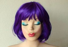 Purple wig. Short purple wig. Bob hairstyle wig.  by kekeshop, $49.95 || for my Cheshire Cat costume