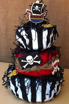 Pirate themed diaper cake- Needs more blue