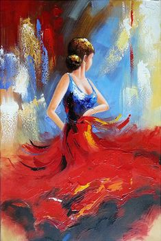 Wieco Art Flying Skirt Abstract Dancing People Oil Paintings on Canvas Wall Art work for Living Room Bedroom Home Decorations Wall Decor Large Modern Stretched and Framed Red Girl Dancer Artwork Easy Canvas Painting, Diy Canvas Art, Oil Painting Abstract, Painting & Drawing, Oil Paintings, Painting Trees, Hand Painted Canvas, Framed Canvas, Framed Wall