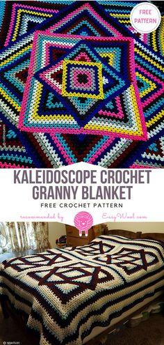 Kaleidoscope Crochet Granny Blanket Free Pattern on Easywool.com #crochetfreepatternforbaby #crochetfreepatternforblanket #crochetbabyblanket #crochetstitch #crochet #crochetfreepatternsforlady #crochet #shellstitch #freecrochetPatterns #freecrochetPatterns #afghan #freecrochetPatternsforafghan #freecrochetPatternsforblanket #crochetstitch #crochet #crochetfreepatternsforhome #afghan #freecrochetPatternsforafghan #freecrochetPatternsforblanket #crochetstitch #crochet