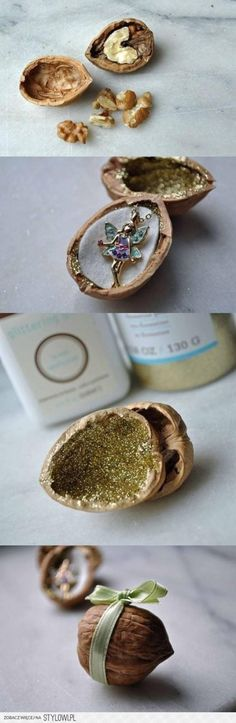 What a cute idea. A walnut, holds cute little things for gifting.