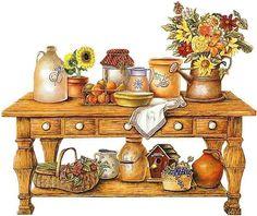 home sweet home - Page 3 Vintage Diy, Decoupage Vintage, Vintage Images, Country Paintings, Country Art, Kitchen Art, Clipart, Paper Dolls, Furniture Decor
