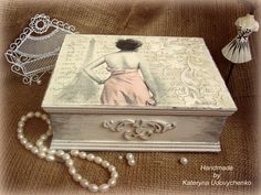 "Handmade box for special women ""Letters from Paris"". May be used for jewelry or other things."