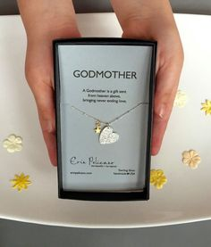 Godmother Necklace. Godmother Gift. Baptism Christening Gifts. Love Jewelry. Godparent Gift. Will You Be My Godmother Baby Heart Jewelry by erinpelicano on Etsy