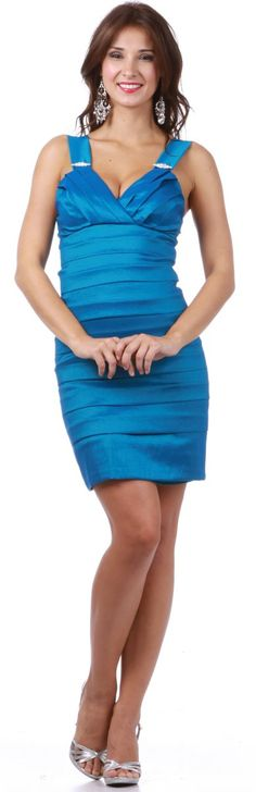 Tight Fit Teal Cocktail Dress Pleated Wide Straps Short Above Knee $89.99