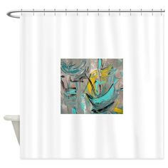 Turquoise shower curtains on pinterest yellow shower - Turquoise and yellow curtains ...