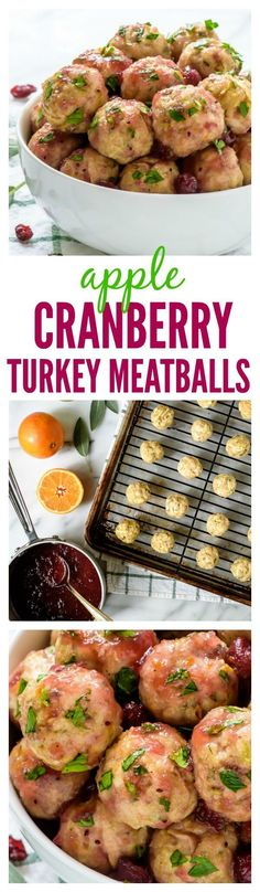 Apple Cranberry Turkey Meatballs. Easy, juicy and every bite tastes like Thanksgiving! paleo crockpot potluck