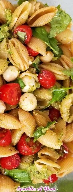 Pesto Caprese Pasta Salad Recipe - Perfect for potlucks, holidays, or when you just need to make a lot to feed a crowd. My new go to pasta salad is this Pesto Caprese Pasta Salad, loaded with fresh from the garden flavors! I just love the idea of a healthier, lighter pasta salad. #pastasalad #fresh #healthyside #saladrecipe #pastarecipe