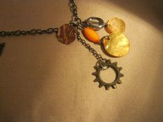 Orange and Metal long necklace by JessicasJavaJewels on Etsy, $15.00