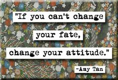 If You Cant Change Your Fate, Change Your Attituds.   Amy Tan