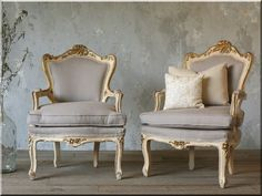 Vintage Shabby Cream & Gilt Louis XV French Style Armchairs Pair-frenchbedroom dining room boudoir furniture gold rococo cane back romantic furniture chairpurple Furniture Makeover, Bedroom Furniture, Furniture Design, Upholstered Furniture, French Country Bedrooms, French Chairs, French Furniture, Antique Furniture, Classic Furniture