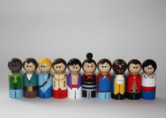 Set of 10 Prince Peg Dolls