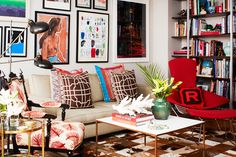 Home Stalking! 30 Cool NY Rooms #refinery29  http://www.refinery29.com/55136#slide10  Let Your Feather FlyWhether a feather print or actual feathers, the shape and feeling of a plume evokes a fun atmosphere that's a welcome addition to any home —even one that's already as eclectic as this!