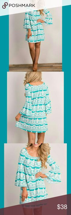 👗TURQUOISE DRESS👗 👗All for Love dress  👗Flowy dress with bell sleeves  👗Detailed stitching throughout  👗True to size  🌟Medium  (5/6-7/8) 🌟Small (0/2-4/5) 👗96 % polyester  👗4 % spandex🙌👌🌺👗😄👍😙❤✌ BOTIQUE  Dresses Midi