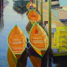 Will Williams  Fishing Dories, Gloucester  Oil 20x20  Artists' Favorite Places show at McBride Gallery