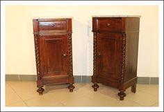 Coppia comodini toscani  noce massello 1880 restaurati con marmo! tavolinetti