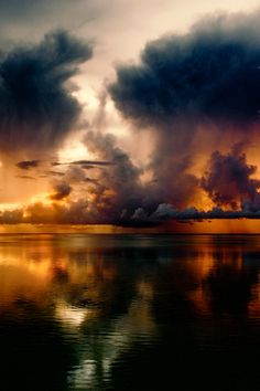 Can you see the face in sky reflection on the water? Beautiful Sunset, Beautiful World, Beautiful Images, Nature Pictures, Cool Pictures, Sky And Clouds, Belle Photo, Amazing Nature, Beautiful Landscapes