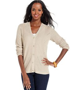Jones New York Sweater, Long-Sleeve V-Neck Cardigan - Sweaters - Women - Macy's