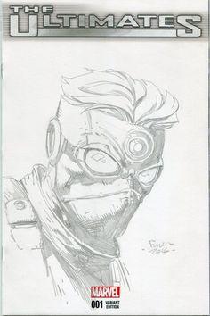 Hawkeye sketch cover - David Finch Comic Art