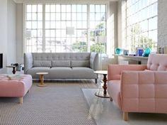 fauteuil et canapé rose